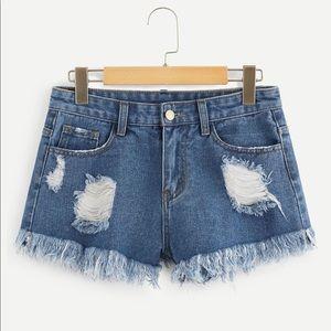 Pants - CHARA💙 blue distressed denim shorts ripped